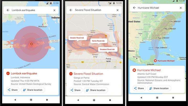 Google Haritalar doğal afet