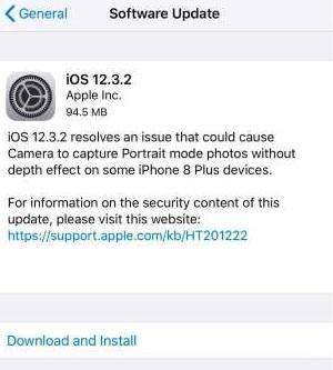 iOS 12.3.2 iPhone 8 Plus