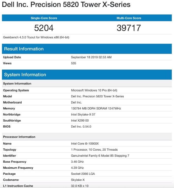 Intel Core i9 10900X benchmark sonuçları