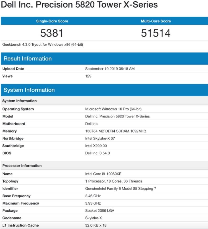 Intel Core i9 10980XE GeekBench skoru