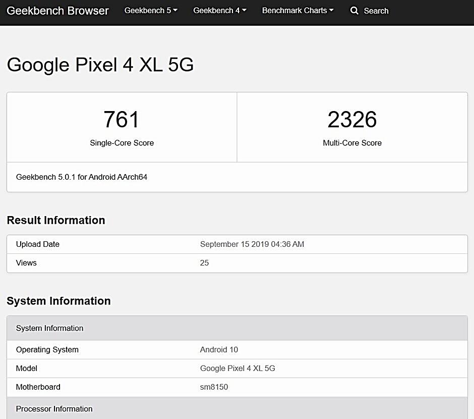 Google Pixel 4XL 5G geekbench puanı