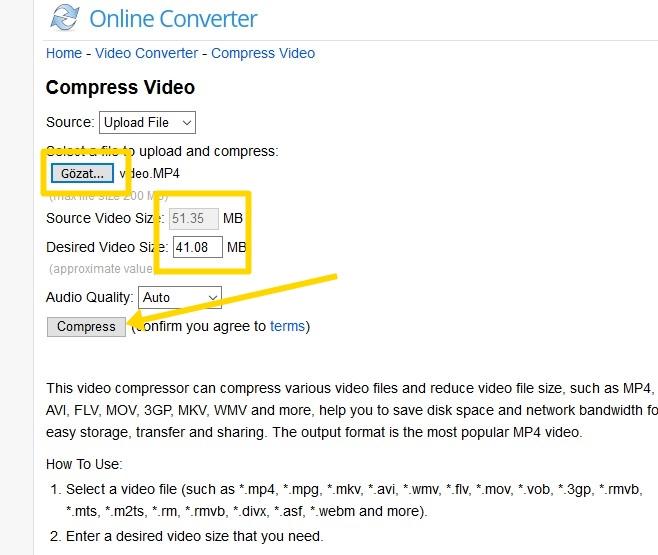 video boyutu düşürme mümkün mü