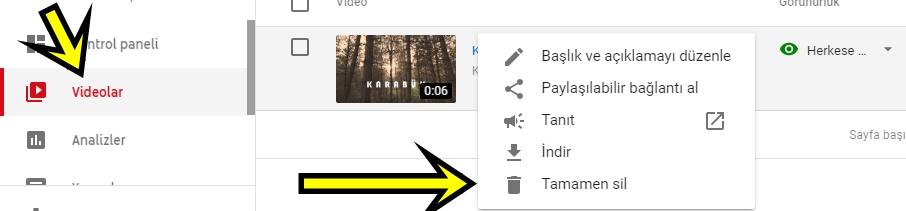 youtube kanalından video kaldırma