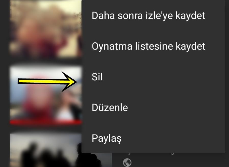 youtube video silme adımları