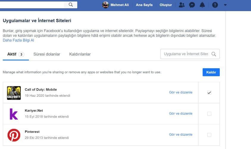 Facebook Uygulama ve İnternet Sitelerini Silme