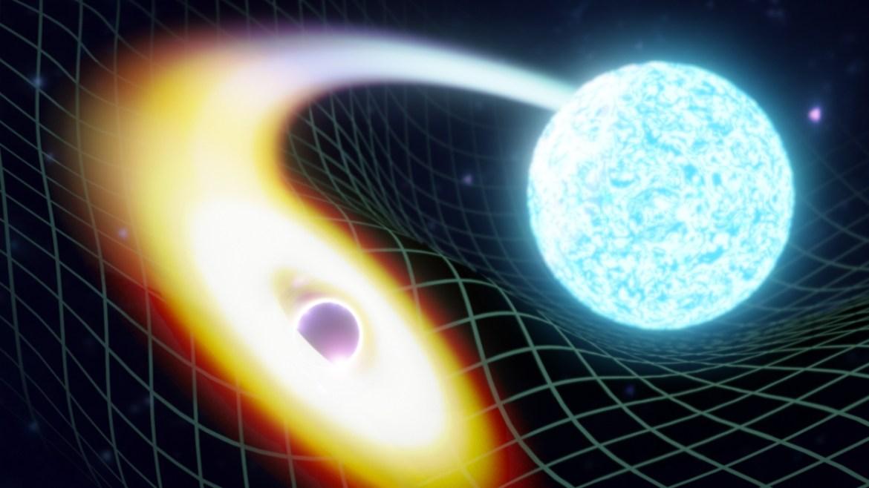 Black hole swallowing neutron star