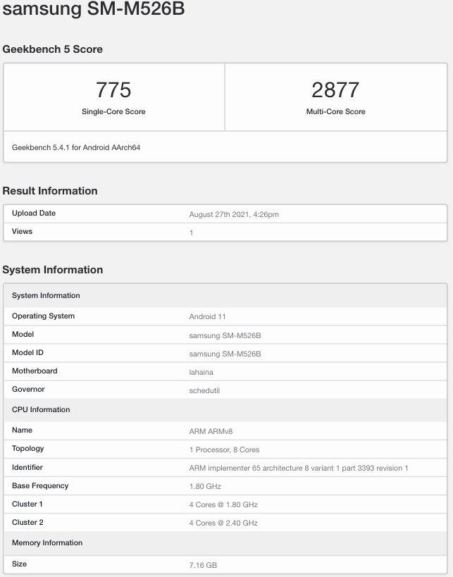 Teknik özellikleri sızdırılan Samsung Galaxy M52 modelinin Geekbench skoru ortaya çıktı.