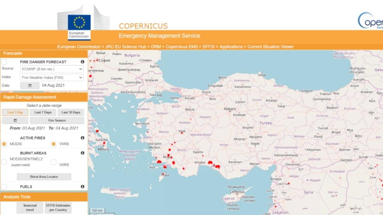 Copernicus EFFIS, orman yangınları haritası