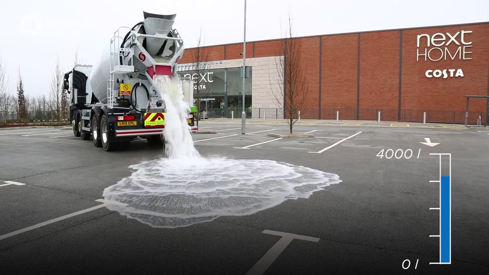 pavimento absorve água 1000 litros
