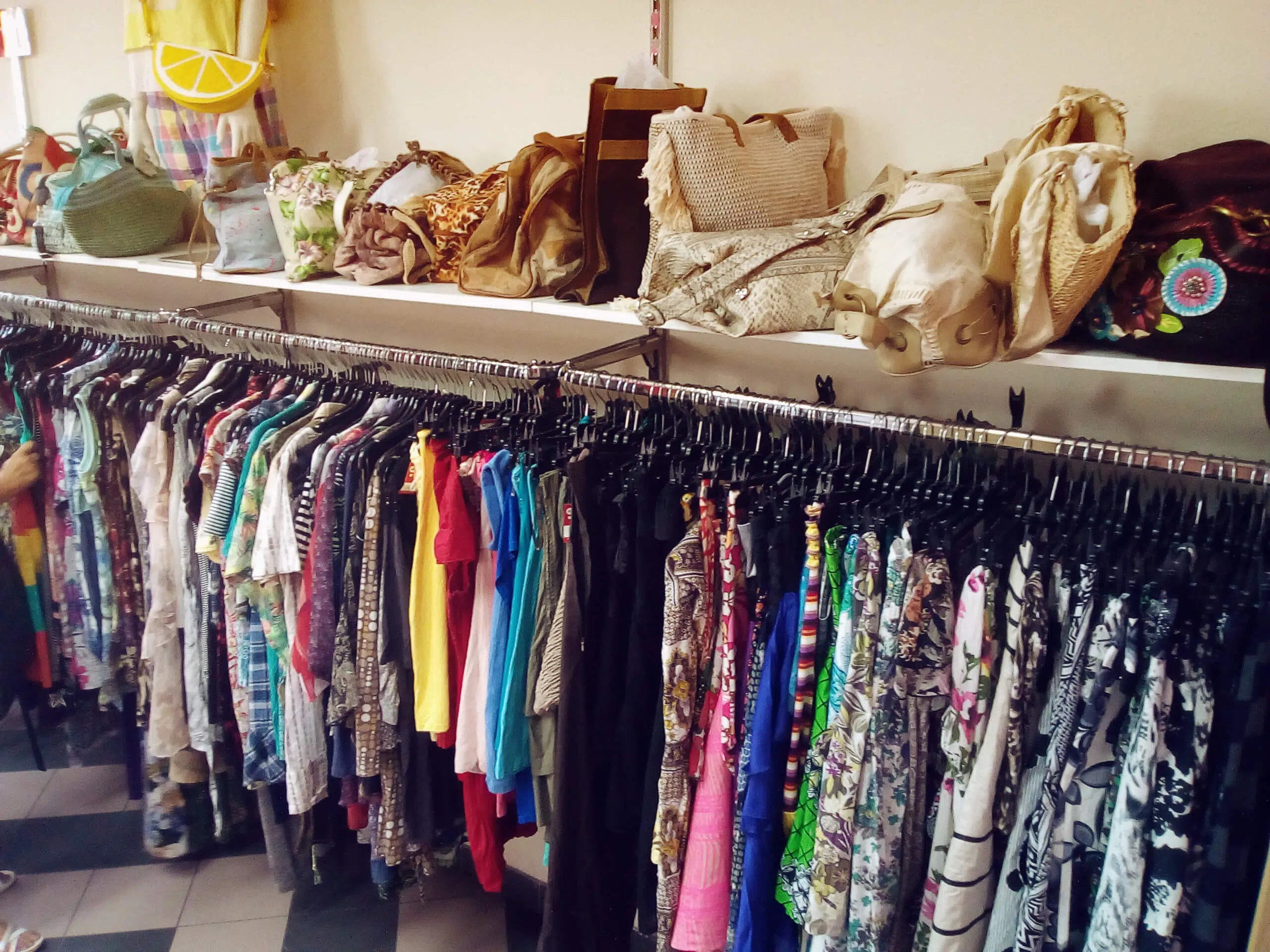 Second hand clothing in store