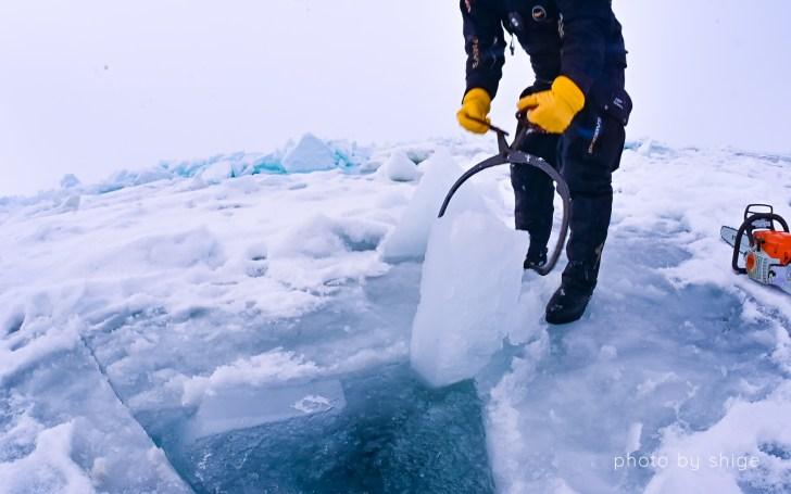 流氷の穴を開けるシーン2