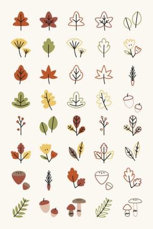 doodles easy doodle drawings drawing draw autumn leaves bullet journal simple freepik elements herbst elemente rawpixel shihoriobata colorful vektoren sketch