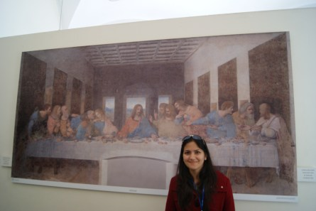 """Posing with the reproduction, after witnessing the original Last Supper in the """"no photography"""" zone."""