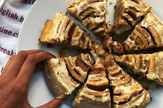 Recipe: Giant Cinnamon Roll with Brown Butter and Almond Flour
