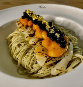 caviar angel hair pasta with gold flakes, sea urchin. premium food that you can make at home with simple steps.