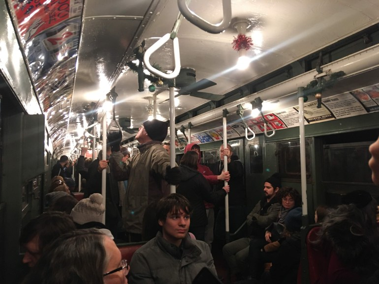 MTA Holiday Nostalgia Train Ride inside subway car