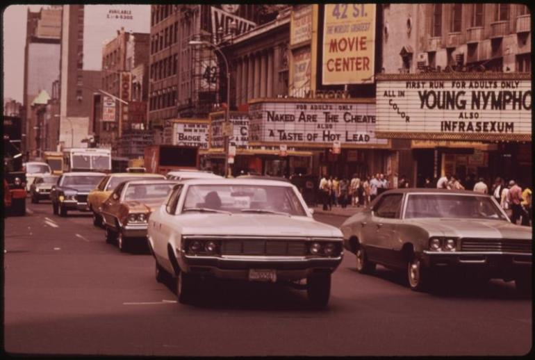 Times Square in the seedy '70s. Image via National Archives and Records Administration.