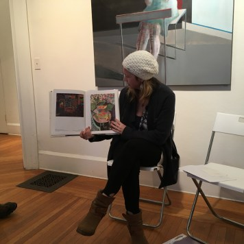 Artist Shilo Ratner giving a talk at The Ely Center of Contemporary Art