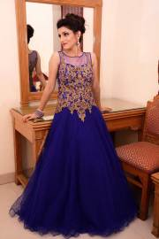 indian engagement gown blue dress