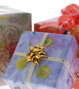 boxes with gifts. It is isolated on a white background
