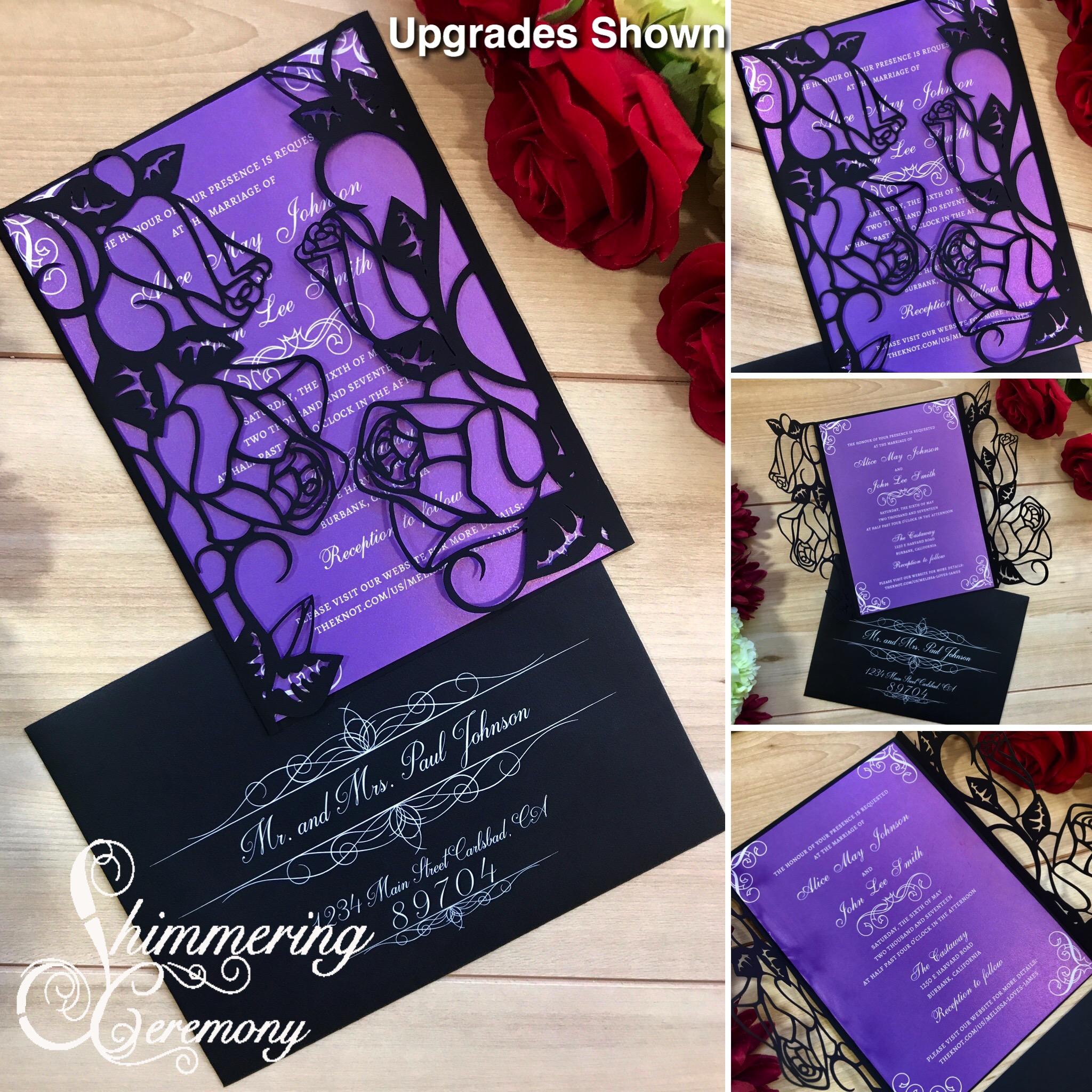 Roses laser cut Flower Wedding Invitation