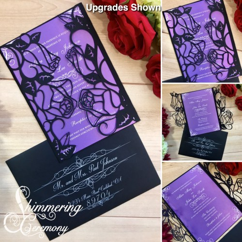 Roses laser cut Flower Wedding Invitation