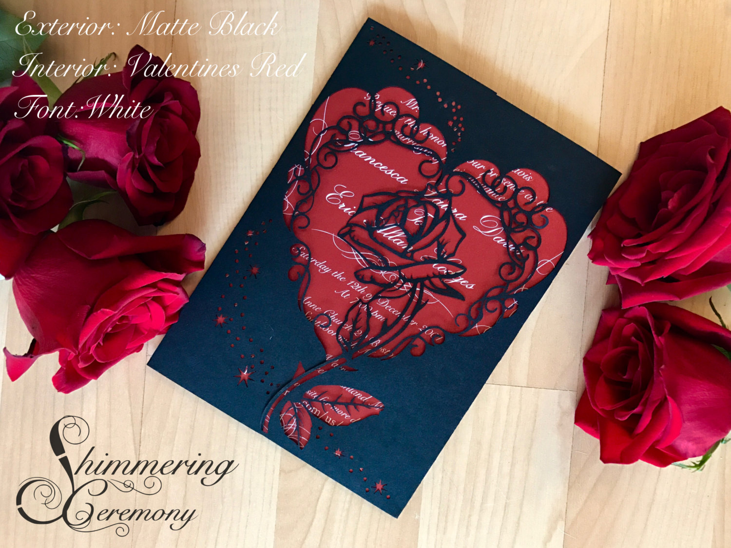 Beauty and the beast inspired wedding invitation laser rose and magic cut gatefold princess