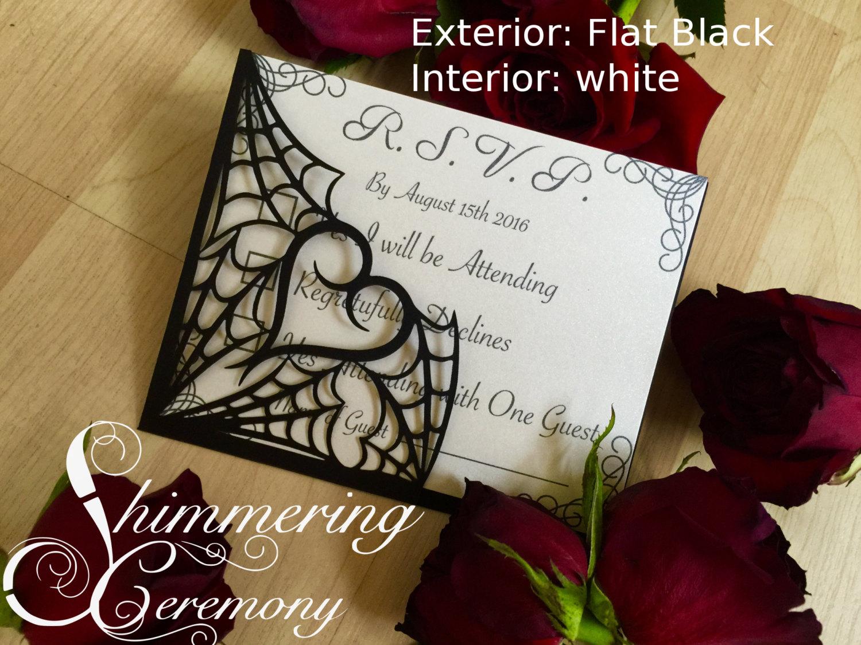 Gothic Spider Web Gate Invitation  Shimmering Ceremony