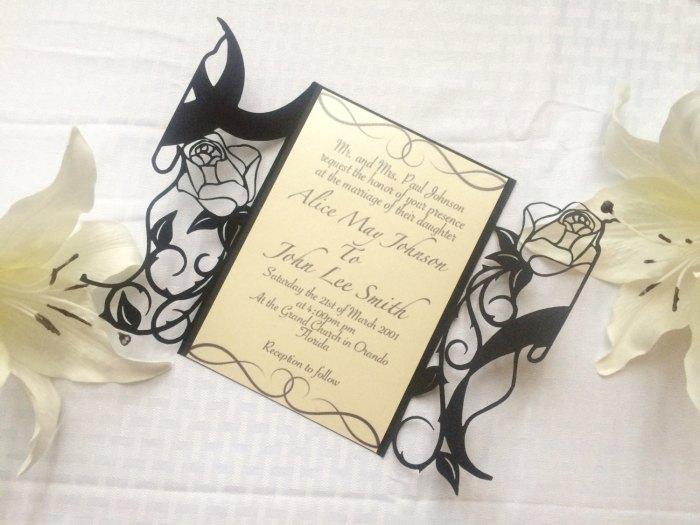 Rock N roll wedding laser cut gatefold invitation guitar and roses rocker party alternative bride