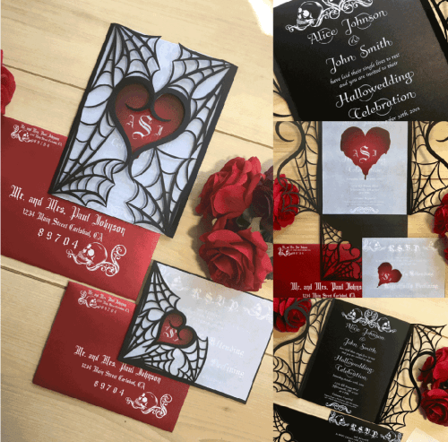 Spider Web Heart Laser Cut Invitation