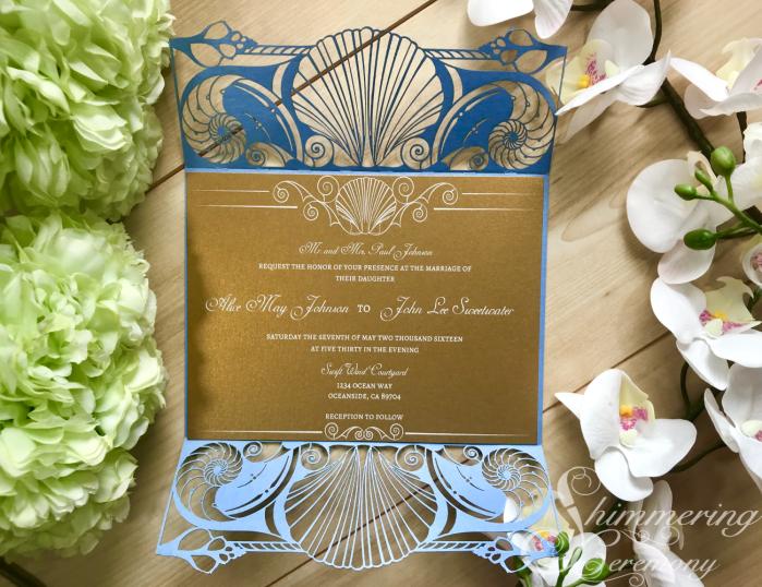 Mermaid shell beach laser cut wedding invitation