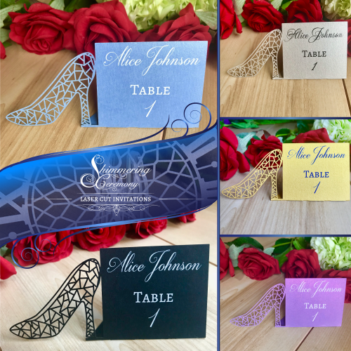 cinderella glass slipper shoe high heel place card name