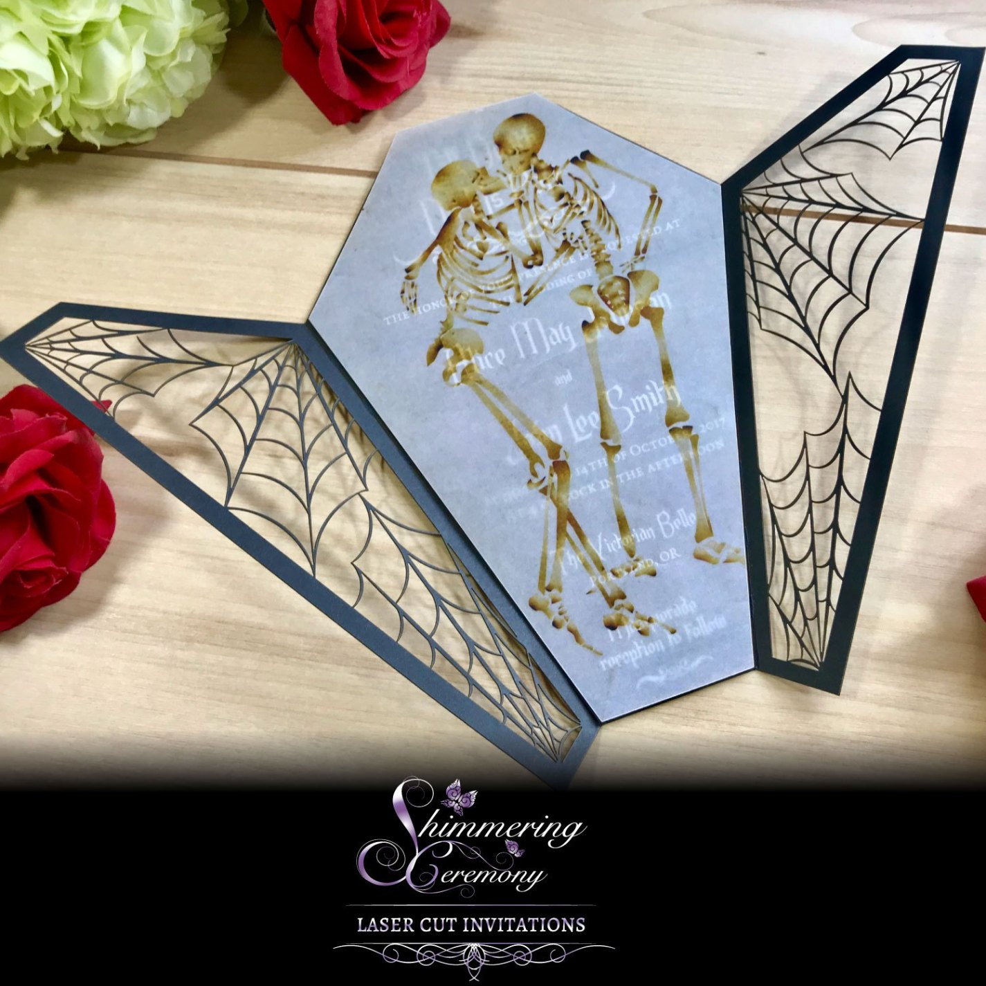 gothic wedding invitations coffin