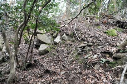 瓶割山(長光寺山)御沢ルート-石垣の痕跡
