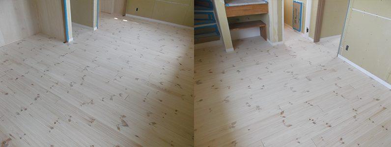トラブった無垢フローリングもフロアサンディング用研磨機にて塗装面を削り出せばきれいな無垢の白木に戻ります。これなら着色塗装と保護塗装を行えば、問題なく仕上がります