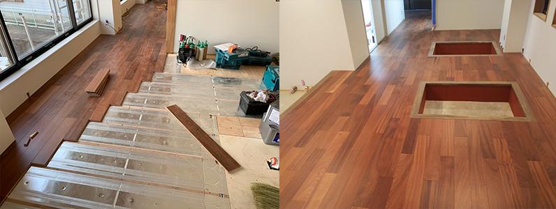 置床・乾式二重床はフラットだけでは無く、堀こたつ用にもできます。段差を少し工夫するだけでも快適にできるが、この置床工法の特徴でもあります。手間をそれほど掛けずに様々な間取りを実現します