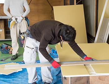 長野市内壁リフォーム壁紙クロスとフローリング張替え施工
