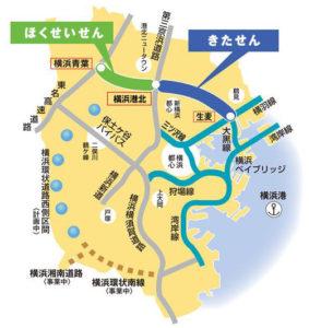 2017年3月開通の「北線」と接続する「北西線」(横浜青葉ジャンクションで東名高速道路と接続)も2020年の開通に向けて工事が進んでいる(きたせんのホームページより)