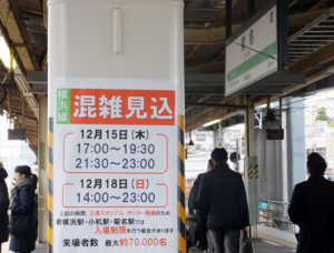 JR菊名駅ホームに掲示されている「混雑見込」のポスター