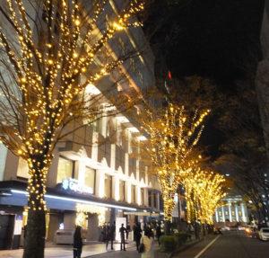 新横浜駅近くの名物スポットとして、また治安上も街に寄与するイルミネーションに参画する企業が増えてほしいと金子会長。同ホテルのシャンデリアを想わせる優雅なLED電球の輝きを来年(2018年)1月末まで楽しめる