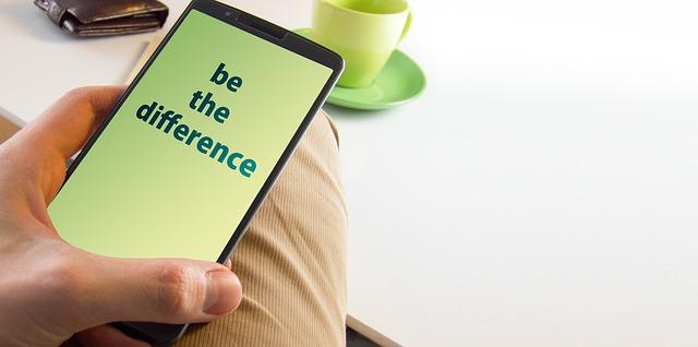 スマホに表示された「be the difference」の文字
