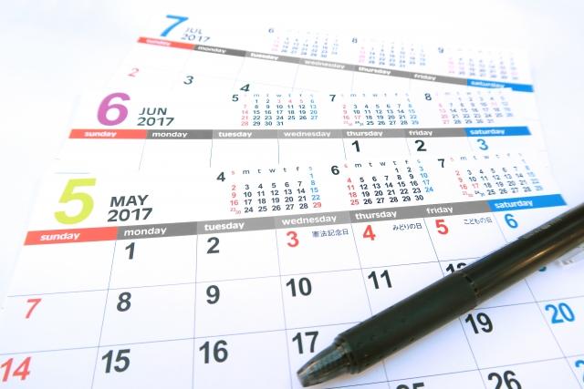 5月から7月までのカレンダー