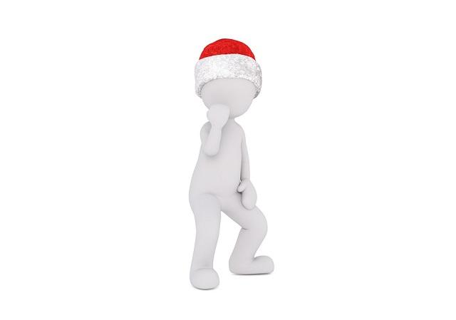 サンタの帽子をかぶった人