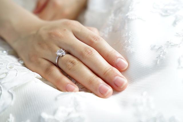 結婚指輪を付けた女性の手