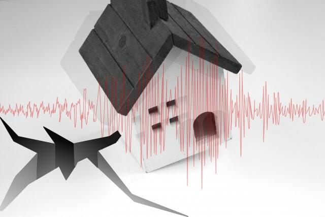地震で家が揺れるイラスト