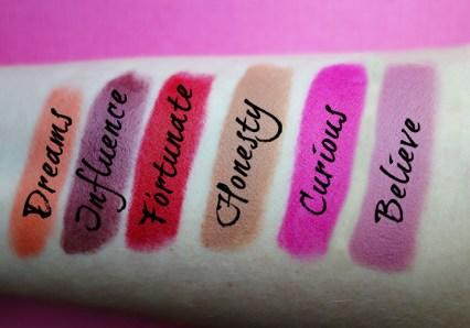 Shine Cosmetics Lipstick names