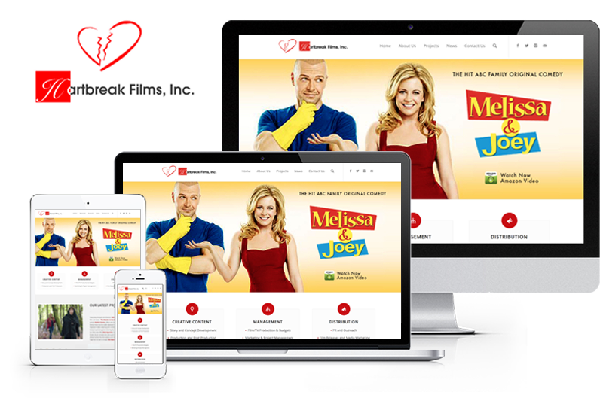 Hartbreak Films Responsive Website designed for Paula Hart and Melissa Joan Hart