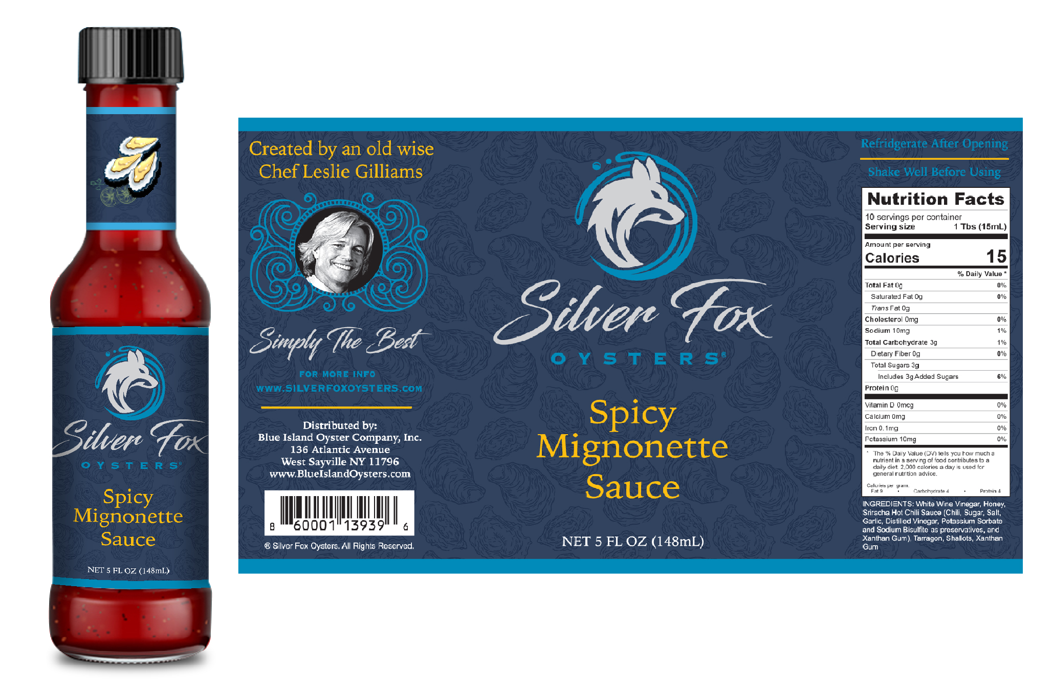 Silver Fox Oysters Packaging - Spicy Mignonette Sauce by Master Chef Leslie Gilliams and Blue Island Oysters