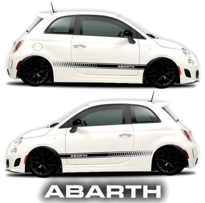 Fiat Abarth 500 rocker panel graphic decal black