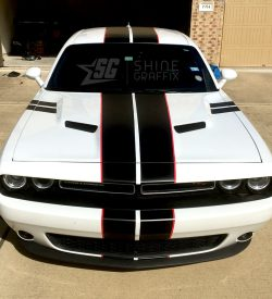 Dodge Challenger Race Stripes Front top